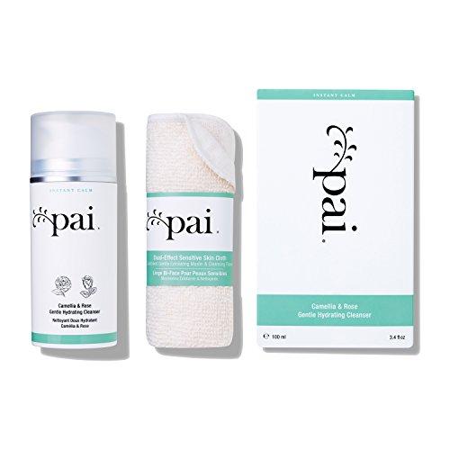 Pai Skincare Kamelien und Rose Hydratisierender Reiniger + Tuch mit Omega 3 und Vitaminen A, B, C und E für Empfindliche Haut - Alkohol Frei - 100ml