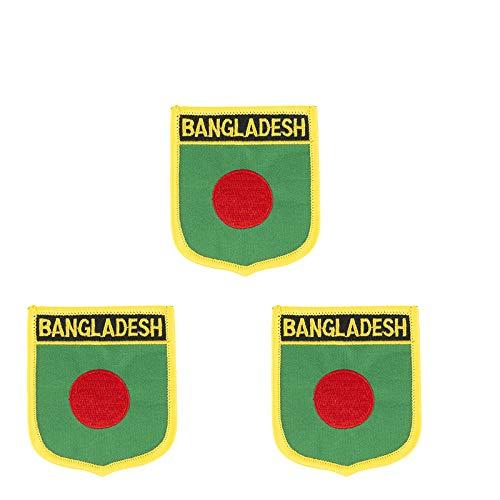 Aufnäher mit Bangladesch-Flagge, bestickt, zum Aufbügeln oder Aufnähen, 3 Stück