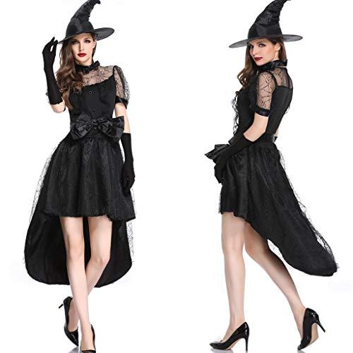 Halloween Frauen Hexe Langes Kleid, Damen Spitze Netz Vampir Vintage Gothic Horror Cosplay Kostüm schwarz Gr. X-Large, Schwarz