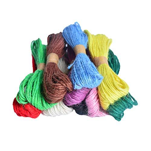 SUPVOX 12 rouleaux de ficelle de jute tressé corde de jute pour les travaux de bricolage artisanat cadeau emballage étiquettes ficelles chat arbre construction jardinage couleur aléatoire