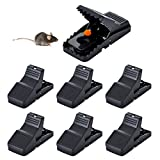 HARCCI Set of Mouse Snap Traps - Durable and Reusable Bait Quick Kill for Rodents, Vole or Mice for Indoor and Outdoor | Powerful Rat Eliminator for Home, Kitchen, Garage, Office | Black, 6 Pack