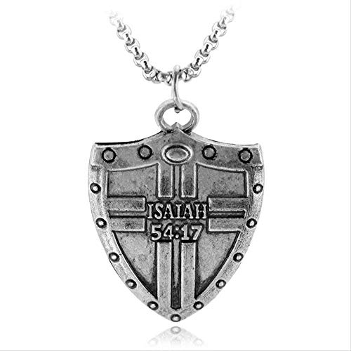 Yiffshunl Collar Collar Retro Escudo Colgante Collar para Hombre niño Biblia Isaías 54:17 Collares Vintage Joyas para Hombre Sin Arma Entrenada contra mí Collar Colgante Niñas Niños Regalo