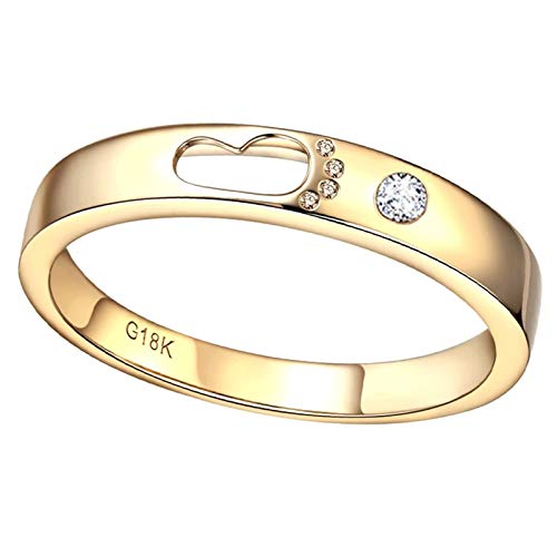 Ubestlove Rose Gold Diamond Ring Birthday Gifts For Her Teenager Hollow Footprint Diamond Ladies Ring O 1/2