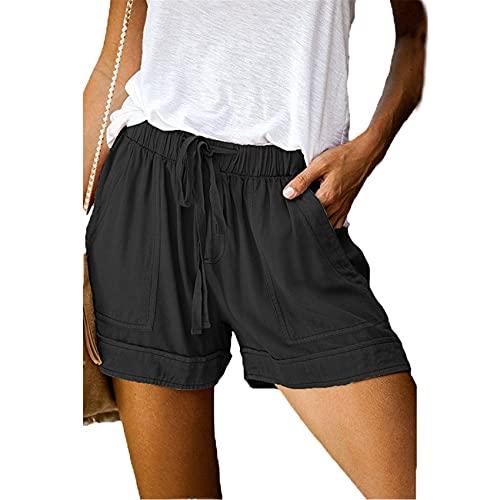Pantalones Casuales De Verano para Mujer, Bolsillos Plisados Cortos, Una LíNea De Encaje EláStico, Cintura Alta, Pantalones Cortos Nuevos para Mujer