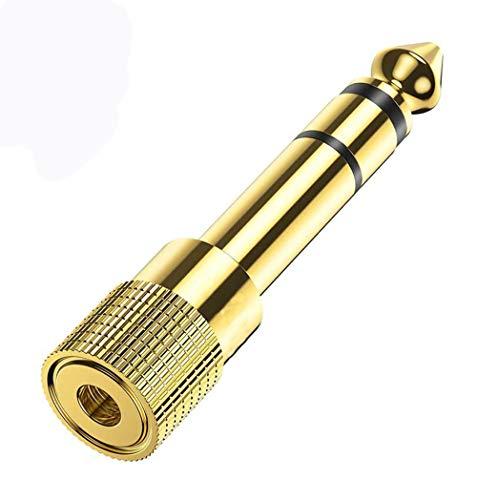 Kopfhörer-Adapter, 3,5 mm auf 6,35 mm Stereo-Aux-Klinkenstecker, vergoldet, 3,5 mm auf 6,35 mm Buchse auf Stecker, Audio-Stecker-Adapter für Digital-Piano, Keyboard, etc. (1 Stück)