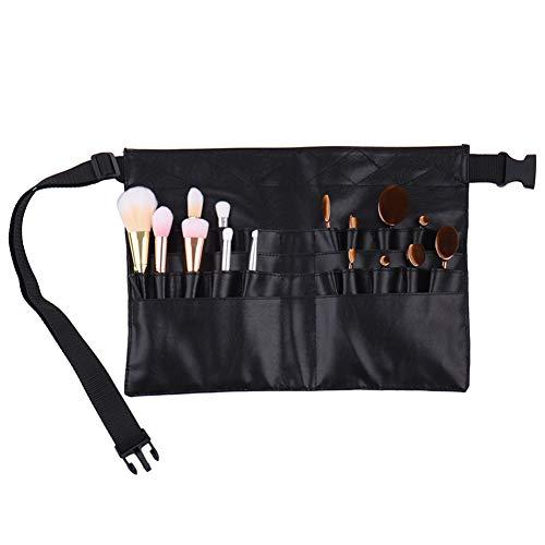 Xiton 1 PC professionnels brosse de maquillage ceinture portable 22 poches Porte-pinceau cosmétique outil de beauté organisateur avec l'artiste Ceinture Bracelet cuir PU sac maquillage taille (Noir)
