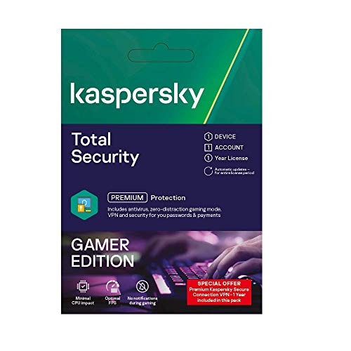 Kaspersky Total Security Gamer Edition with Premium VPN Secure Connection, Windows/Mac, 1 Device, 1 Year