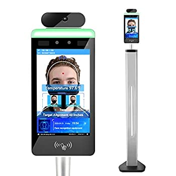 WiFi Touch Screen Automatic Infrared Body Temperature Thermal Scanner Kiosk Access Control System,No-contact Face Recognition Temperature Scanner Support Face Comparison Library and Attendance