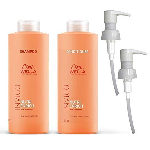 Champú y acondicionador Wella Invigo Nutri-Enrich, paquete de 1000 ml y bombas