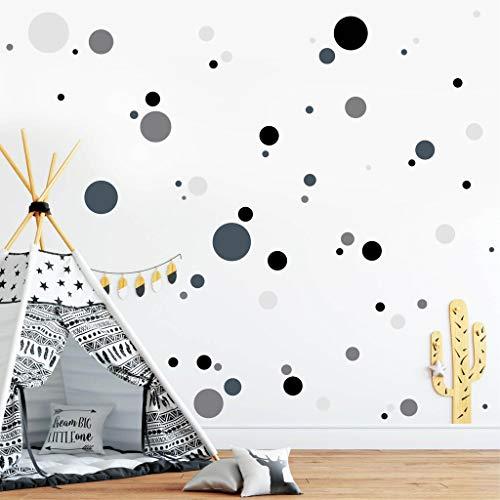 Wandtattoo Deko Kreise (4farbig) 70 Stück Punkte Aufkleber im Set - Schwarz Grau Hellgrau und Dunkelgrau