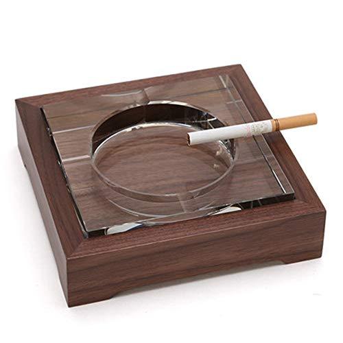 Cenicero Cenicero cuadrado de cristal transparente simple de cristal de madera for...