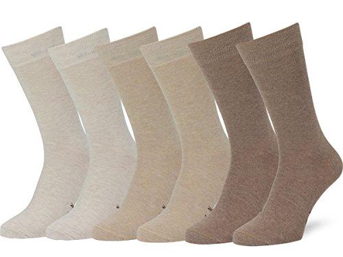 Easton Marlowe Classic Business Herren Socken - 6pk 3-5 - Weizen/Sand/Taupe melange, einfarbig - 39-42 EU Schuhgröße