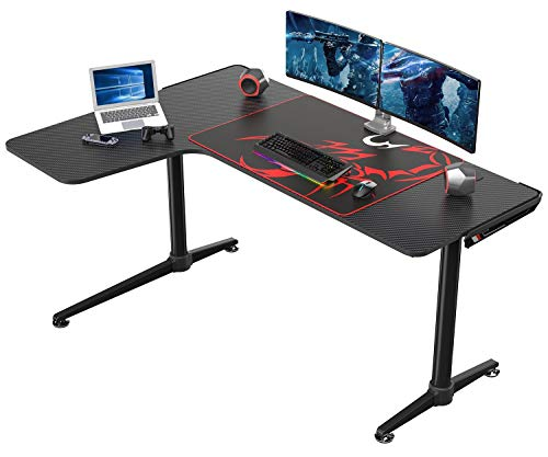 EUREKA ERGONOMIC L Shaped Gaming Desk, 60 Inch L Shaped Corner Gaming Desk, Large Computer Desk, PC Gaming Desk with Mouse Pad and Cable Management for Gift,Space Saving, Easy to Assemble,Black