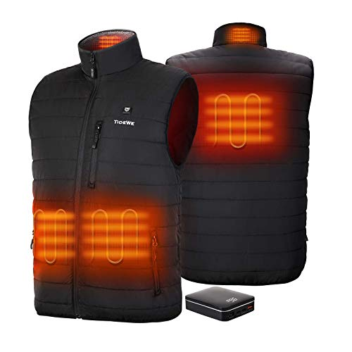 TIDEWE Men's Lightweight Heated Vest with Battery Pack (Black, Size XL)