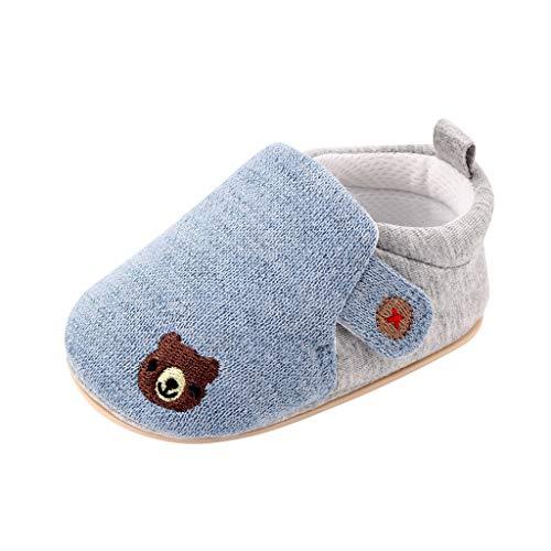 Kids Toddler Slipper Socks Indoor Booties Cozy Warm Fuzzy Non Slip Grippers Car Sky Blue, M 1-2Y