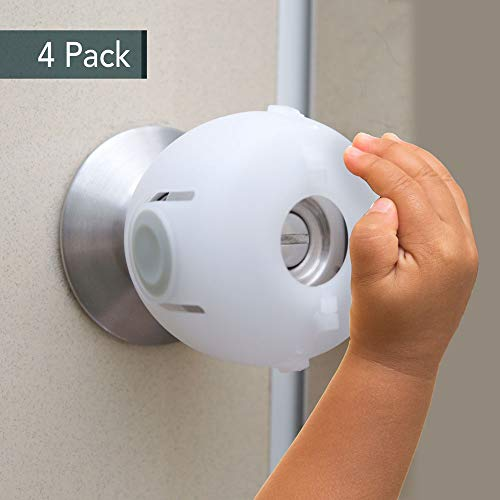 Door Knob Safety Cover, Child Safety Lock, Kids Toddler Proof Doors 4 Pack/White by Heart of Tafiti