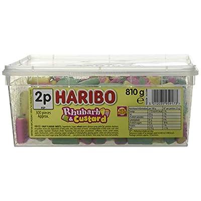 haribo rhubarb & custard candy pieces - 300 pack Haribo Rhubarb and Custard sweets 810g tub 41pTMfqDwnL