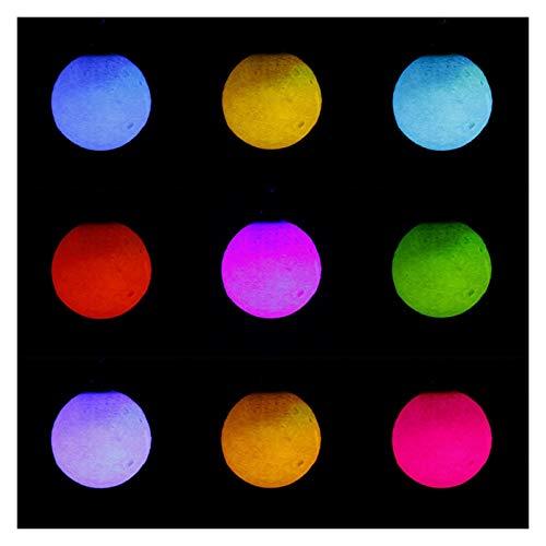 Jfsmgs Llavero Planeta 3D portátil Llavero luz de Luna Llavero Noche de la decoración de la lámpara Lateral Doble Cristal de la Bola de Cadena Regalos creativos (Color : Colored Light)