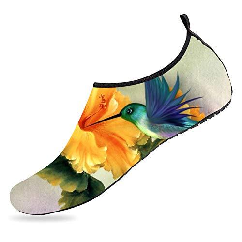 468 Zapatos de agua para pájaros y flores, secado rápido, zapatos descalzos antideslizantes, para playa, natación, piscina, para hombre y mujer