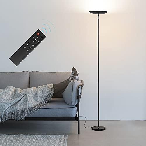 フロアライト OSSESS 間接照明 フロアスタンド LED 上向きライト 30W 高輝度 調光調色 北欧 目に優しい おしゃれ 電気スタンド リモコン 勉強/仕事/読書/リビング/寝室 ブラック
