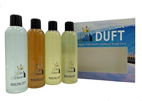 Whirlpoolduft 4 x 250ml - Eukalyptus, Kokos-Vanille, Lemongras, Orange-Citrus - die Bestseller von Dufte Momente in einem exklusiven Set