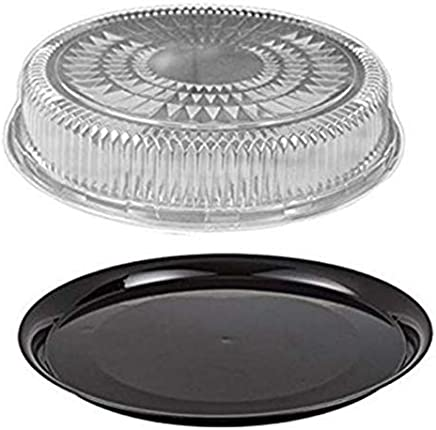 Durable Packaging 16 Black Round Flat Catering Serving Party Tray Food Platter + Clear Dome Lid (pack of 10)