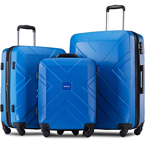 Merax 3 Piece Luggage Sets Expandable ABS Spinner Suitcase with TSA Lock 20 inch 24 inch 28 inch (Deep Blue)