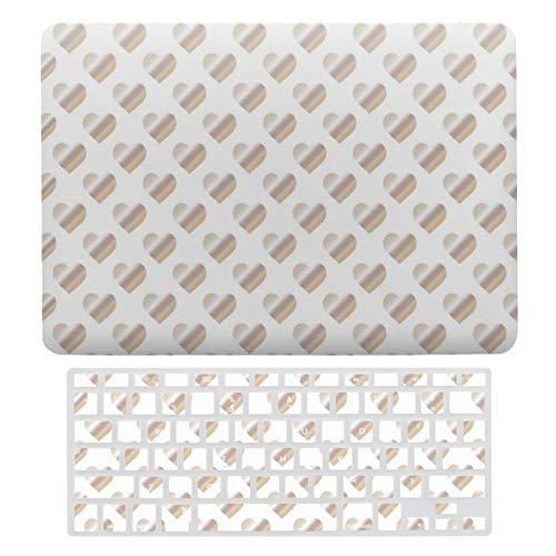 Carcasa rígida de plástico para MacBook Air 13 A1466 y A1369, compatible con MacBook Air 13, diseño de corazones plateados, juego de carcasa protectora para ordenador portátil