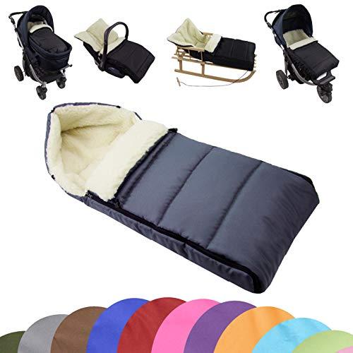 BAMBINIWELT universaler Winterfußsack (90cm), auch geeignet für Babyschale, Kinderwagen, Buggy, aus Wolle UNI liniert (dunkelgrau)