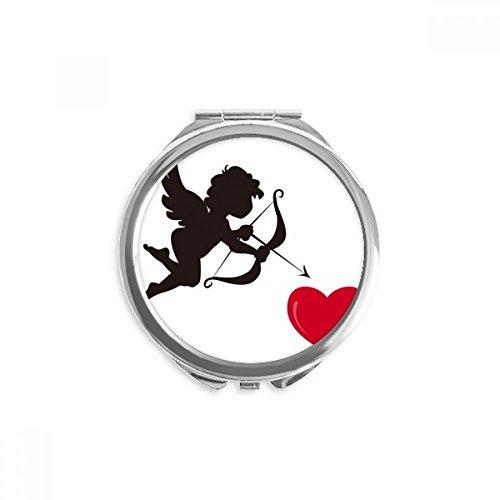 DIYthinker cupidon motif ange rouge de coeur miroir rond maquillage de poche à la main portable 2,6 pouces x 2,4 pouces x 0,3 pouce Multicolore