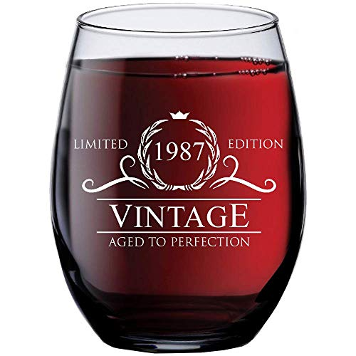 1987 33rd Birthday Gifts for Women Men - 15 oz Stemless Wine Glass - 33 Year Old Gift Present Ideas for Mom Dad - Funny Vintage Unique Personalized - Party Anniversary Reunion Decorations Supplies