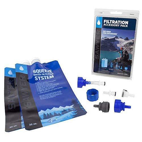 SAWYER Squeeze Wasserfilter Faltbare Trinkbeutel Set, Blau (SP118 Wasserfilter Zubehör Set Sparset inkl. 2 x 1l Trinkbeutel)