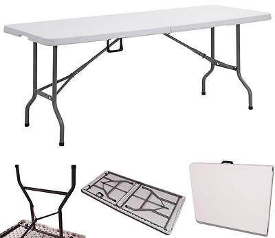 Mesa plegable de 6 pies, resistente, para acampada, barbacoa, jardín, interior y casa