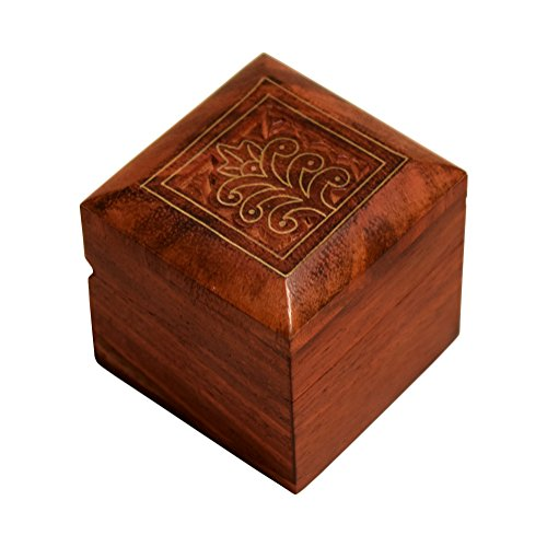 Handcrafted Brass Work Wooden RIng Box