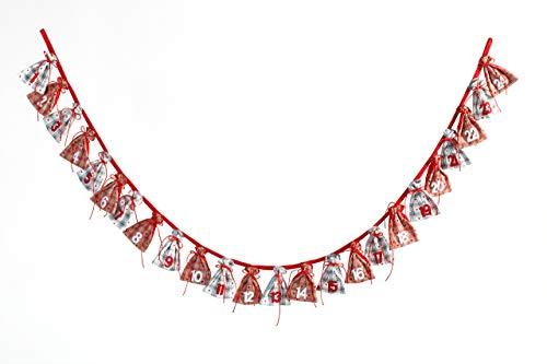 HEITMANN DECO Adventskalender Kette zum Befüllen und Aufhängen - Stoff-Adventskalender - Grau, Beige, Rot, Weiß