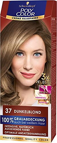 Poly Color Creme Haarfarbe 37 Dunkelblond, 3er Pack (3 x 150 ml)