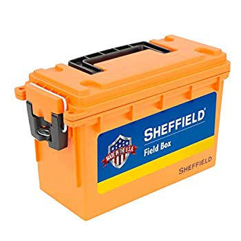 Sheffield 12630 Field Box Pistol Rifle or Shotgun Ammo Storage Box Tamper-Proof Locking Ammo Can Water Resistant Made in The U.S.A Stackable Orange