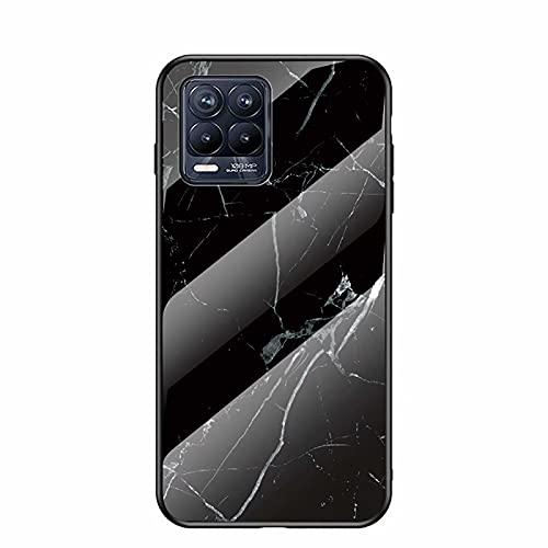 SOUFU Fodral lämpligt för Realme 8 Pro fodral, Marmor PC + TPU-glasfodral mot kollision härdat glas bakskydd -Svart
