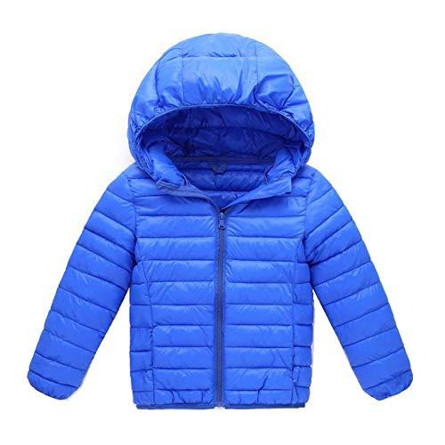 CYSTYLE Warme KinderJungen Mädchen Steppjacke Daunenjacke Leicht Übergangsjacke Mit Kapuze (Blau 1, 120/Körpergröße 110cm)