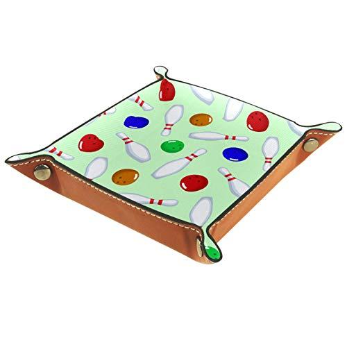 ZORE_FINE5 Faltbares Würfeltablett aus Leder, quadratisch, Schmucktablett und Uhr, Schlüssel, Münzen, Süßigkeiten, Aufbewahrungsbox 14,5 cm (5,7 Zoll) in Bowlingnadeln und Kugeln