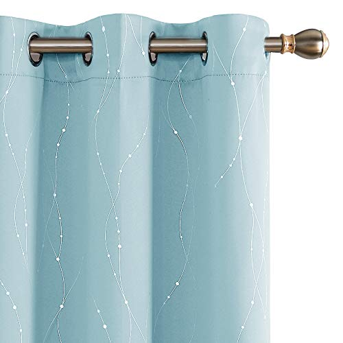 Deconovo Thermal Insulated Curtains Grommet Window Blackout Curtain Pair Light Filtering Curtains for Dining Room Sky Blue 38W x 45L Inch 2 Panels