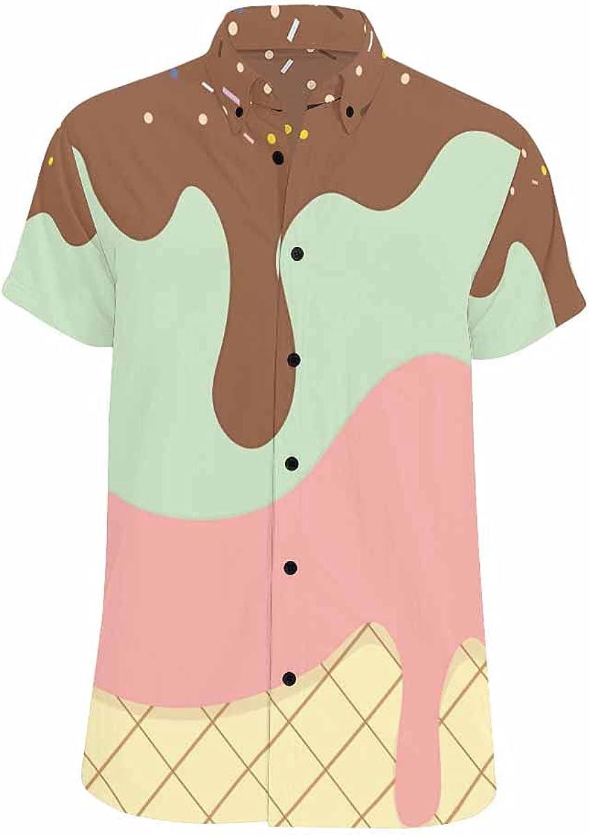 InterestPrint Sunshine Jumping Dolphin Hawaiian Beach Shirt Button Down Relax Casual Shirts for Men