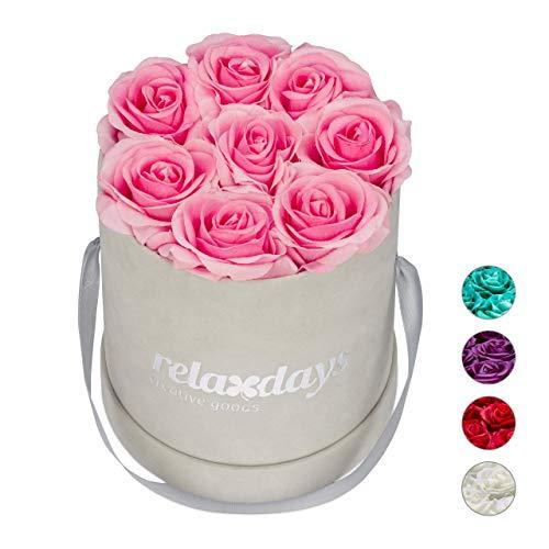 Relaxdays Rosenbox rund, 8 Rosen, stabile Flowerbox grau, 10 Jahre haltbar, Geschenkidee, dekorative Blumenbox, rosa