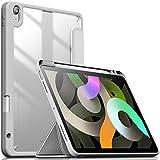 INFILAND Funda Case para iPad Air 4 Generación,iPad 10.9 Inch 2020 Cover Soporte,[Auto-Reposo/Activación Cubierta] [Trasera Transparente] [Carcasa Ligera] [Ultra Delgada Estuche],(Plateado)