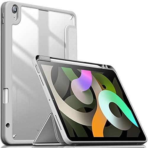 INFILAND Funda Case para iPad Air 4 Generación,iPad 10.9 Inch 2020 Cover Soporte,[Auto-Reposo/Activación Cubierta] [Trasera Transparente] [Carcasa Ligera] [Ultra Delgada Estuche], Plateado