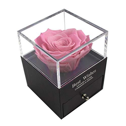 MINCHEDA Flor Eterna de Caja de Regalo, Flor Eterna Natural Regalos Cumpleaños Mujer/Aniversario Boda/Día de San Valentín para tu Novia Originales