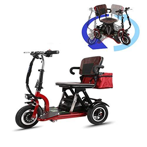 TTFC Scooter Minusvalidos,Scooter Eléctrico de 3 Ruedas,discapacitados, Desmontable, Manillar Plegable, Personas con Movilidad Reducida, Motor de 300W 30 km