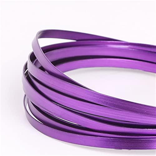 HLH Alambre plano de aluminio, artesanía de aluminio para hacer collares y pulseras, joyería de 5 mm x 1 mm (color: púrpura)
