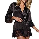VJGOAL Moda Casual Negro Suave de Satén Camisón de Seda de Encaje Lencería Camisón Ropa de Dormir Sexy Bata Ropa Interior Erótica(Small,Negro)