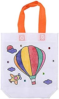 10 Packs Kids DIY Paint Non-Woven Tote Bags Craft Graffiti Party Goodie Bags with Hot Air Balloon Draft